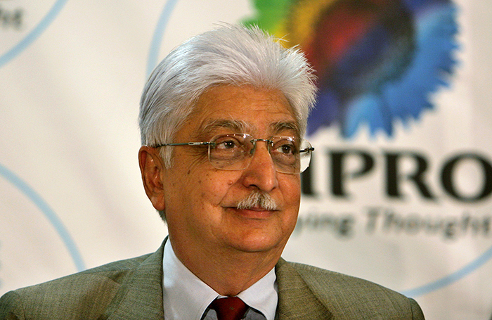 Chairman of Wipro Ltd. Azim Premji gestures during a press conference to announce the January-March 2007 quarter results at the company's headquarters in Bangalore, India, Friday, April 20, 2007. India's third-largest software company, Wipro Ltd., said Friday that its net profit in the January-March quarter jumped 44 percent from a year ago, helped by continued outsourcing orders from overseas. Bangalore-based Wipro reported a profit of 8.61 billion rupees (US$200 million, euro147 million) in the fiscal fourth quarter, taking profit in the year ended March to 29.17 billion rupees (US$677 million, euro498 million), up 44 percent from a year earlier, a company statement said. (AP Photo/Aijaz Rahi)
