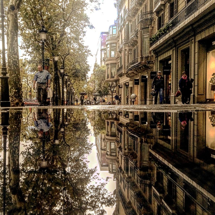 Puddles of Barcelona Spain