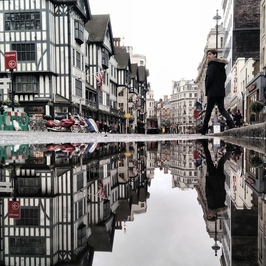 Puddles of London England