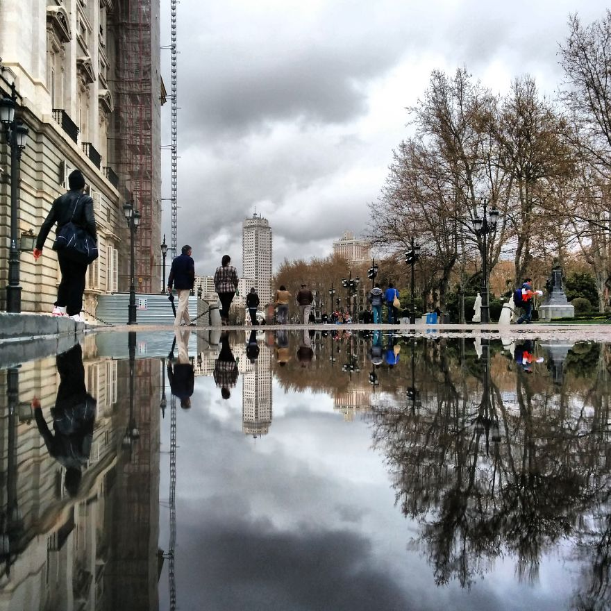 Puddles of Madrid Spain
