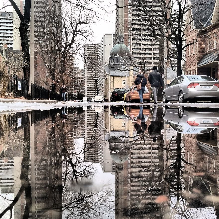Puddles of Toronto Canada