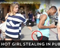 hot girl stealing in public