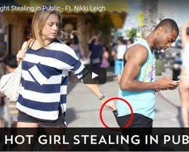 hot girl stealing in public
