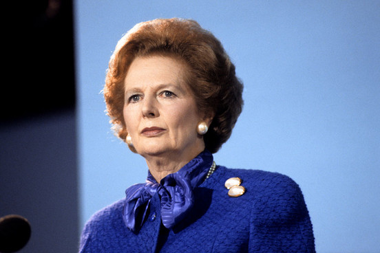British Prime Minister Margaret Thatcher speaks during the Conservative Party Conference in Blackpool